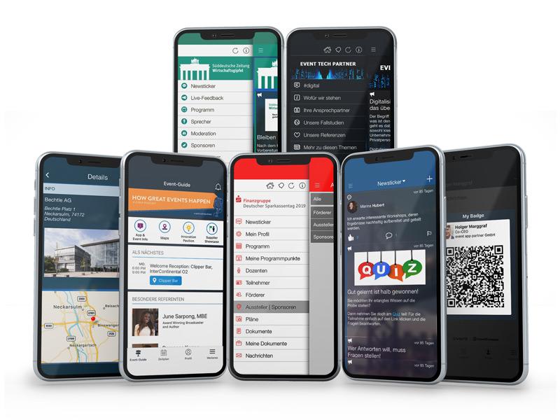 Schaubild mit sieben Screenshots aus echten Event Apps