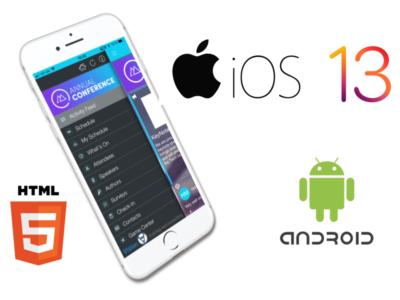 Collage aus Event App und Icons der Betriebssysteme