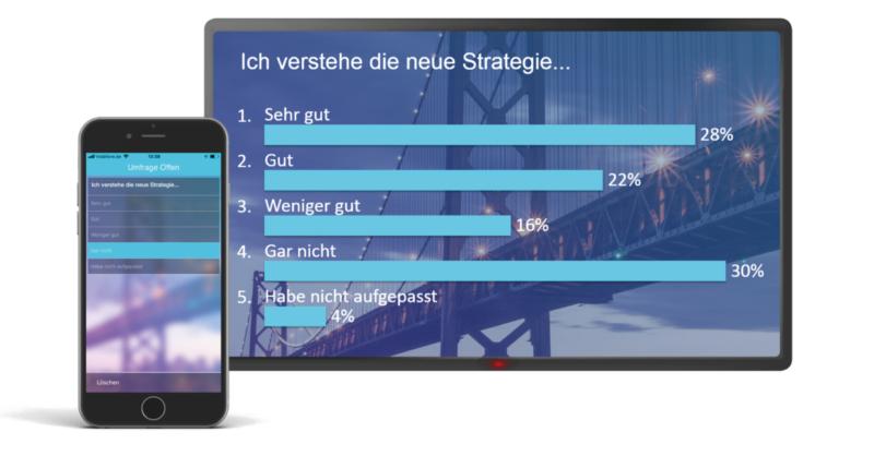 Einsatz Event-App - Ansicht einer Abstimmung auf Tablet und Handy