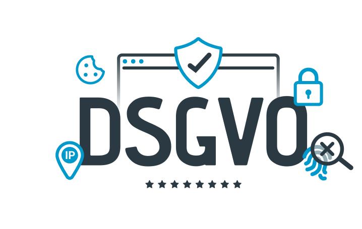 Grafik zum Thema DSGVO, schwarz/blau