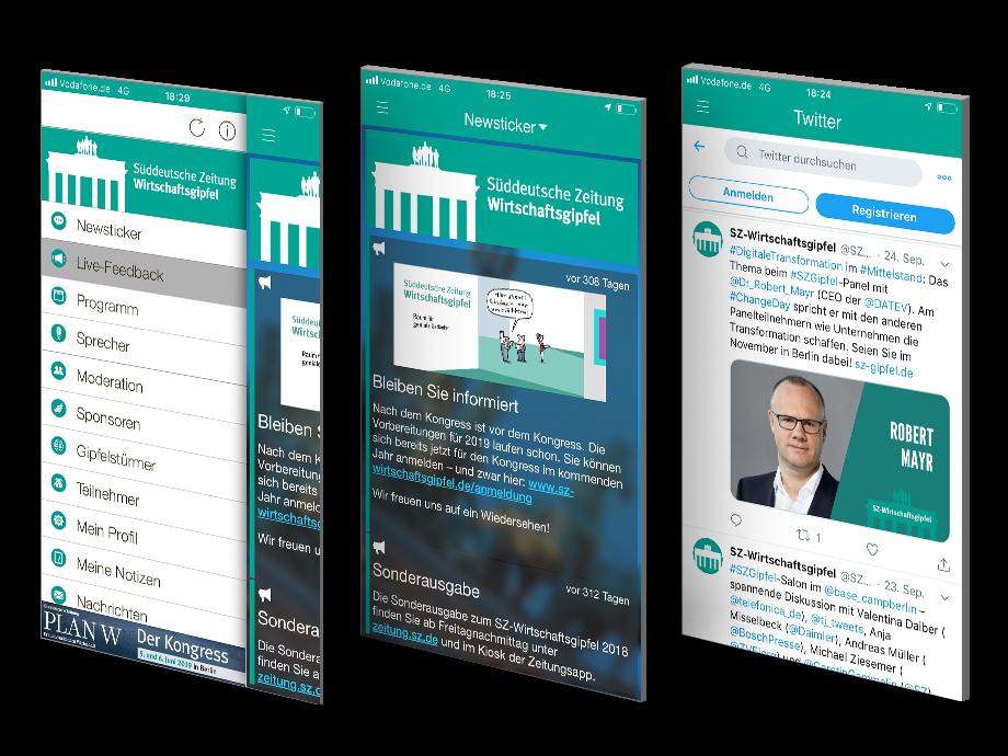 Drei Ausschnitte aus Event-App - Menü, Newsticker, Twitter