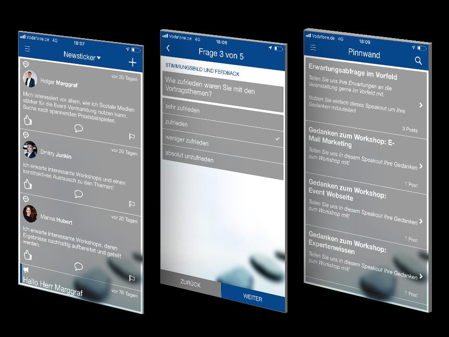 Drei Ausschnitte aus Event-App - Newsticker, Pinnwand, Feedback