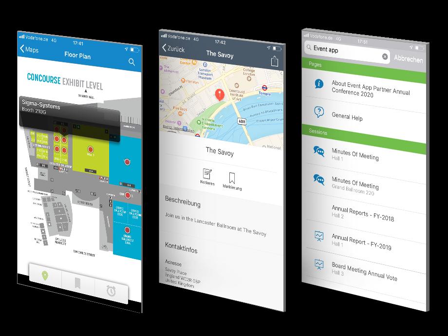 Drei Ausschnitte aus Event-App - Interaktive Pläne, Stadtführer,